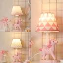 Girl Bedroom Unicorn Desk Light Resin 1 Light Animal Pink LED Reading Lamp with Plug In Cord