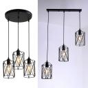 Industrial Cylinder Cage Hanging Lamp 3 Lights Metal Suspension Light in Black for Kitchen Bar