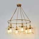 Restaurant Ring Hanging Light with Square Cage Metal 6 Lights Industrial Gold Pendant Light
