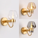 Living Room Wall Light Amber/Clear/Smoke Gray Glass 1 Light Contemporary Wall Lamp in Brass