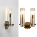 Metal Candle Wall Light with Tube Shade 1/2 Lights Traditional Sconce Light in Aged Brass for Hallway