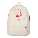 Popular Flamingo Embroidery Pattern Canvas School Bag Backpack 32*11*38 CM