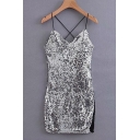 New Fashion Silver Sexy V-Neck Split Side Mini Night Club Sequined Cami Dress for Women