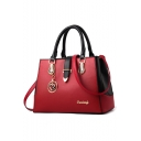 Stylish Plain Metal Embellishment Commuter Tote Handbag for Women 32.5*13.5*21.5 CM