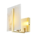Bedroom Stair Square Panel Wall Light Metal Single Light Traditional White Sconce Lamp