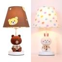 Resin Toy Bear/Rabbit Desk Light 1 Light Cartoon Study Light in White/Brown for Child Bedroom