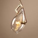 Creative Teardrop Pendant Light Clear Open Glass 1 Light Suspension Light for Bar Restaurant
