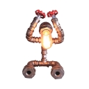 Silver Water Pipe Robot Reading Light 1 Head Vintage Dimmable Metal Desk Light for Dormitory