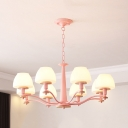 Frosted Glass Urn Chandelier 6 Lights Macaron Hanging Light in Green/Pink/Yellow for Kid Bedroom