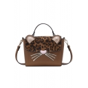 Cute Cartoon Cat Velvet Leopard Pattern PU Cross body Satchel 20*8*17 CM