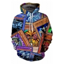 Unique Cool Comic Cosplay Costume 3D Game Card Pattern Long Sleeve Pullover Hoodie