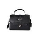 Simple Fashion Solid Color Belt Buckle Top Handle Crossbody Satchel Bag 21*15*9 CM