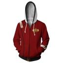 Cool Simple Logo Pattern Long Sleeve Cosplay Costume Zip Up Red Hoodie
