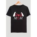 Unique Cute Cartoon Letter DOG MOM Pattern Basic Round Neck Short Sleeve Cotton Tee