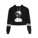 Popular Comic Character Printed Stripe Long Sleeve Cropped Pullover Drawstring Hoodie