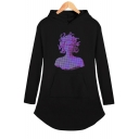Fashion Vaporwave Figure Sculpture Print Long Sleeve Mini Shift Casual Hooded Dress