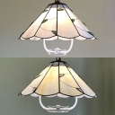 Glass Conical Pendant Light with Green/Pink Leaf Dining Table 1 Light Tiffany Style Pendant Light in White