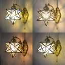 Vintage Brass Wall Light Star Shade 1 Light Glass Wall Lamp with Pull Chain for Hallway