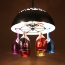 Restaurant Domed Hanging Light with Wine Glass Wrought Iron Multi-Color Chandelier