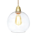 Simple Style Hanging Light Globe One Light Clear Glass Pendant Lamp for Living Room Bathroom