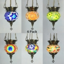1/6 Pack Glass Orb Pendant Light 1 Head Moroccan Turkish Hanging Lamp for Dining Table(not Specified We will be Random Shipments)