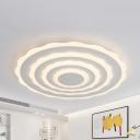 White Floral LED Flush Mount Light Modern Acrylic Ceiling Lamp in Warm/White for Living Room