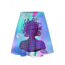 New Stylish Vaporwave Cool 3D Printed Elastic Waist Mini A-Line Dress