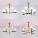 Clear/Cream Glass Globe Chandelier Dining Room 6/8 Heads Simple Style Pendant Lamp in Black & Gold