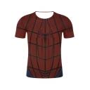 Summer Cool Red Spider Pattern Round Neck Short Sleeve Slim Fit T-Shirt