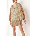 Summer Chic Tribal Printed Button V-Neck Long Sleeve Mini Orange Shift Dress