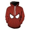 Stylish Cool 3D Spider Web Pattern Unisex Sport Loose Red Hoodie