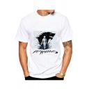 Summer Popular Wolf Head Printed Basic Short Sleeve Round Neck White T-Shirt