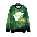 New Trendy Galaxy Wolf Head Letter WINTER IS COMING Pattern Basic Round Neck Long Sleeve Pullover Sweatshirt