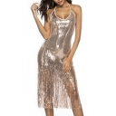 Womens Sexy Night Club Halter Neck Sequined Tassel Hem Midi Bodycon Cami Dress