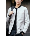 Guys New Trendy Flap Pocket Front Long Sleeve Stand Collar Zip Up Fitted Short Jacket