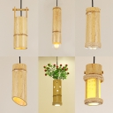 Bamboo Flute Pendant Light Single Light Antique Style Suspension Light in Beige for Cafe