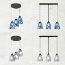 3 Lights Grid Bell Pendant Lamp Tiffany Style Glass Island Light in Blue/White for Kitchen