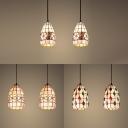 2 Lights Grid Shade Hanging Light Tiffany Rustic Shell Pendant Light in Beige for Living Room