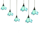 Cafe Petal Shaped Pendant Light Glass 3 Heads Tiffany Style Modern Blue Hanging Light