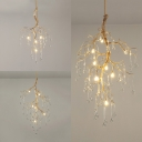 Metal Twig Pendant Lamp with Teardrop Crystal Restaurant 4/6/9 Lights Elegant Style Chandelier in Gold
