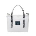 Fashion Letter Printed Patchwork Canvas School Shoulder Tote Bag 32*6*25 CM