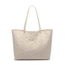 Women's Fashion Solid Color Lace Floral Large Capacity Shoulder Tote Bag 39*27*14 CM