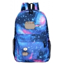 Hot Fashion Cartoon Cat Galaxy Starry Sky Printed Sports Bag School Backpack with Zipper 30*12*42 CM