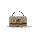New Stylish Plain Top Handle Straw Crossbody Satchel Bag with Chain Strap 21*14*9 CM