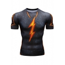 Cool Fire Flash Logo Pattern Basic Round Neck Short Sleeve Tight Gym Fitness Grey T-Shirt for Guys