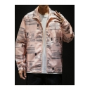 Mens Hip Hop Style Letter Pattern Stand Collar Long Sleeve Zip Up UV Protection Track Jacket