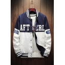 Fashion Letter LIMITED Back Rib Stand Collar Long Sleeve Zip Up Blue and White Colorblock Baseball Jacket