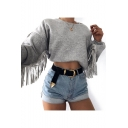 Hot Popular Round Neck Tassel Embellished Long Sleeve Plain Cropped Loose Sweatshirt