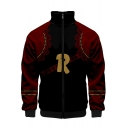 Simple Letter R Print Comic Cosplay Costume Stand Collar Long Sleeve Black and Red Jacket
