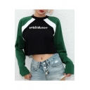 Funny Letter WAIT and SEE Print Colorblocked Round Neck Long Sleeve Cropped Sweatshirt